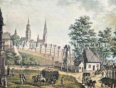 Torwärterhaus vom Steintor, Hamburger Stadtbefestigung um 1790; im Hintergrund die Kirchtürme von Hamburg.