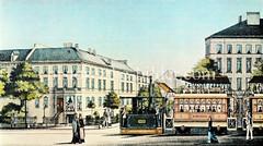 Historische Dampfstraßenbahn auf der Wandsbeker Chaussee in Hamburg Eilbek. (ca. 1883)