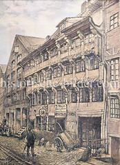Historische Gebäude, Kaufmannshäuser / Fachwerkhaus mit Schnitzerei in der Straße Herrlichkeit in der Hamburger Altstadt.