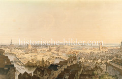 Blick auf die Brandruinen nach dem Hamburger Brand von 1842; lks. das Nikolaifleet mit der Ruine der Nikolaikirche - re. die Alster und die Petrikirche.