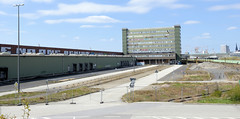 Bilder aus dem Kleinen Grasbrook, Stadtteil in Hamburg -  Übersee Zentrum; Parkplätze und Verwaltungsgebäude.