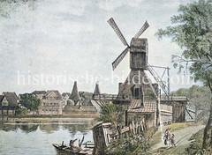 Blick auf die Mühle bei der Lombardsbrücke an der Hamburger Alster - im Hintergrund der Bereich des Neuen Jungfernstiegs.
