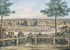 Historischer Blick von der Hamburger Altmannshöhe auf den Vorort St. Georg und den Hühnerposten / Spaldingstraße - re. der Berliner Bahnhof.