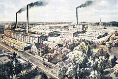 Fabrikanlage, rauchende Schornsteine an der Holzmühlenstraße in Hamburg Wandsbek.