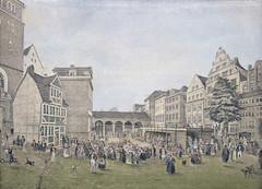Historische Ansicht vom Hamburger Hopfenmarkt an der Nikolaikirche - Hamburger Hauptmarkt u.a. für Schlachter, Fischer und Geflügel.