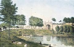 Historische Ansicht vom Hamburger Deichtor, ca. 1845.