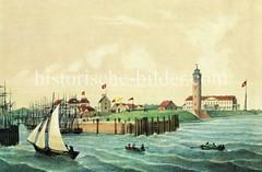 Historische Ansicht der Hafeneinfahrt von Cuxhaven; re. der Leuchtturm der Stadt. (ca. 1860)