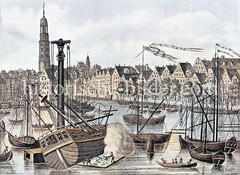 Historische Ansicht vom Binnenhafen in der Hamburger Altstadt; ein Holzschiff ist mit Hilfe eines Krans auf die Seite gelegt; die Fugen werden mit Werg und Teer abgedichtet (kalfatern).