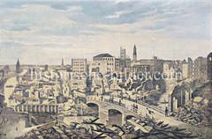 Ruinen nach dem Hamburger Brand von 1842; Blick auf den Graskeller - re. das Mönkedamm-Fleet.