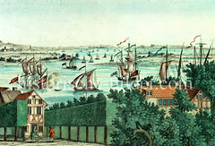 Blick von Altona auf die Elbe Höhe Köhlbrand; Segelschiffe - lks. Kirchtürme von Hamburg.