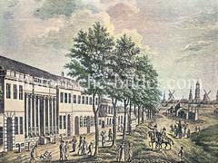 Blick von St. Pauli, Nobistor auf Hamburg - lks. das Wirtshaus Joachimsthal, re. der Trichter und Spielbuden.