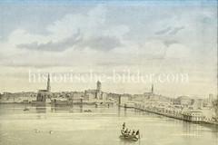 Blick über die Brandruinen vom Neuen Jungfernstieg zur Hamburger Altstadt nach dem Brand von 1842 - re. die Notunterkünfte am Jungfernstieg.