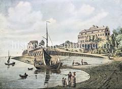 Altes Bild vom Elbufer bei Hamburg Neumühlen - Villa Sieveking am Elbhang, ein Segelschiff wird mit Schubkarren entladen.  (ca. 1800)