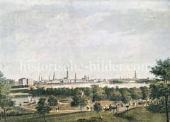 Blick über die Schöne Aussicht in Hamburg Uhlenhorst zum Panorama Hamburgs.