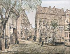 Blick in die Straße Cremon in der Hamburger Altstadt; lks. die alte Waage - re. die Straße Beim Neuen Krahn.
