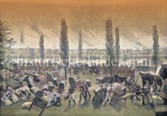 Historische Ansicht vom Hamburger Brand 1842 - Blick von der Lombardsbrücke zur brennenden Neustadt; Flüchtlinge  stapeln ihre geretteten Habseligekeiten im Freien.