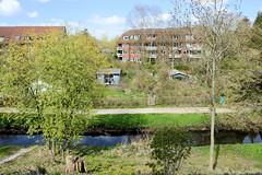 Fotos vom ehem. Güterbahnhof Lokstedt, Hamburg Groß Borstel. Blick vom Baugelände über die Tarpenbek zu der Kleingartenanlage.