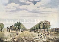 Allee hinter dem Steintor am Besenbinderhof / Beim Strohaus im Hamburger Vorort St. Georg. (ca. 1780)
