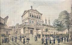 Historische Ansicht an der Trostbrücke / Nikolaifleet; lks. der alte Kran am Fleetufer, in der Bildmitte die alte Waage mit Justitia auf dem Dach - im Hintergrund das Börsengebäude - alles wude beim Großen Hamburger Brand von 1842 zerstört.