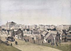 Hilfswohnungen, Notunterkünfte für Obdachlose nach dem Großen Brand in Hamburg 1842; bei der Börse und Johannisstraße wurden Holzbuden errichtet.