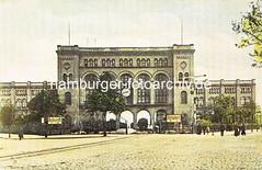 Altes Bild vom Venloer Bahnhof - nach 1892 Hannoverscher Bahnhof (auch Pariser Bahnhof). Bis zur Ablösung durch den Hamburger Hauptbahnhof im Jahr 1906 war er der Bahnhof für alle Personenzüge, die bei Hamburg die Elbe überquerten. Bis 1999 war