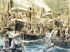 Schichtwechsel im Hamburger Hafen; Hafenarbeiter kommen von ihrem Arbeitsplatz auf der Werft mit Booten über die Elbe und gehen am Baumwall an Land. (ca. 1880)