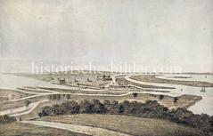 Historische Ansicht von Hamburg um 1150 - Blick auf die befestigte Stadt an der Alster / Bille / Elbe.