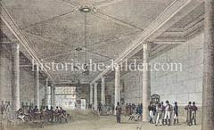 Historische Innenansicht der Hamburger Börsenhalle; Versammlungsort der Kaufleute - erbaut bei der Nikolaikirche 1804, abgebrannt 1842.