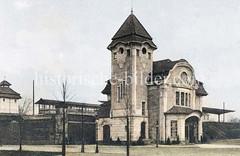 Historische Ansicht vom Empfangsgebäude / Haltestelle Friedrichsberg in Hamburg Eilbek / Barmbek Süd.