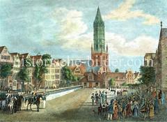 Alte Ansicht vom Pferdemarkt in der Altstadt Hamburgs - im Hintergrund die Hamburger Hauptkirche St. Jakobi. (ca. 1838)