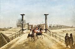Die französische Armee zieht über die neugebaute Holzbrücke / Elbbrücke von Harburg nach Hamburg beim Brooktor (1813).