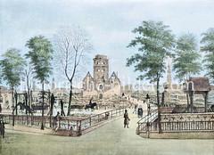 Ruine der Nikolaikirche nach dem Brand von 1842 - im Vordergrund das Rödingsmarktfleet.