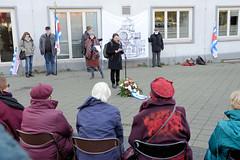 Mahnwache am Ort der ehmaligen Synagoge auf dem Hamburger Grindelhof am 10.11.2019.