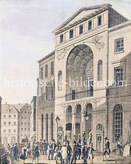 Alte Hambuger Börsenhalle bei der Nikolaikirche, erbaut 1804 - abgebrannt während des Hamburger Brandes von 1842.