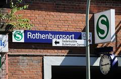 Schild S-Bahn Bahnhof Hamburg Rothenburgsort -Schild Gedenkstätte Bullenhuser Damm
