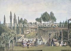 Blick auf das St. Georger Tivoli und die Rutschbahnen am Besenbinderhof; im Hintergrund die Bühne des Sommertheaters (1842)