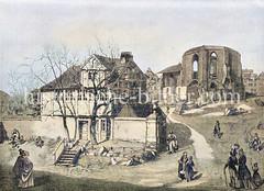 Brandruine der Gertrudenkapelle an der Rosenstraße nach dem Brand von 1842; im Vordergrund das unversehrte Wohnhaus des Totengräbers.