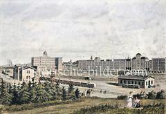 Alte Ansicht der Zollvereins-Niederlage an der Sternschanze; die Errichtung dieser Niederlage wurde 1870 eröffnet und sollte einen ungehinderten Verkehr zwischen dem Hamburger Freihafen und dem Zollverein gewährleisten.