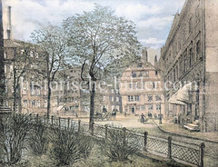 Alte Ansicht vom Katharinen Kirchhof in der Hamburg Altstadt - in der Bildmitte Häuser in der Straße Grimm.