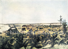 Historisches Panorama von Geesthacht an der Elbe, ca. 1840.