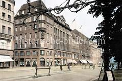 Alte Ansichte vom Hamburger Jungfernstieg, lks. die Mündung der Straße Große Bleichen  (ca. 1923).