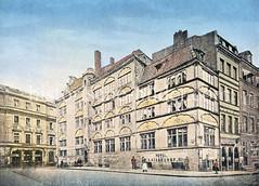 Barock-Architektur in der Hansestadt Hamburg - historische Ansicht vom Hotel Kaiserhof in der Altstadt; Trostbrücke / Ness - erbaut 1619, abgerissen 1871.