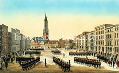 Militärparade auf dem Pferdemarkt in der Hamburger Altstadt ca. 1855 - in der Bildmitte die St. Jacobikirche.