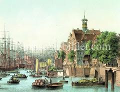 Historische Ansicht vom Baumwall in der Hamburger Neustadt - im Hintergrund der Niederhafen / Jonashafen, ca. 1855.