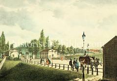 Hamburgs Stadtgrenze nach St. Georg - Steintor, Passanten und Pferdefuhrwerk, ca. 1840.