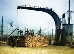 Hafenarbeiter stapeln Ballen unter dem Arm eines Dampfkrans am Johannisbollwerk in der Hamburger Neustadt, ca. 1903.