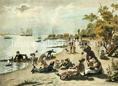 Strandszene, Badestrand an der Elbe bei Neumühlen / Othmarschen, ca. 1880-