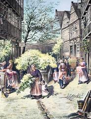 Pfingsfest im Hamburger Gängeviertel, die Häuser werden mit Grünzweigen geschmückt, ca. 1880.