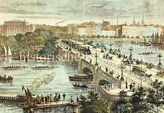 Historische Ansicht der Hamburger Lombardsbrücke, 1882  - Straßenverkehr mit Eisenbahn, Kutsche, Straßenbahn, Reitern und Fußgängern. Auf dem Wasser fahren Barkassen, Segelboote, Ruderboote und Frachtsegler.