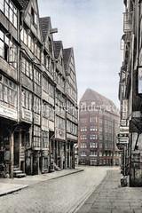 Historische Bebauung am Kattrepel in der Hamburger Altstadt ca. 1925 - im Hintergrund Kontorhaus in der Niedernstraße.